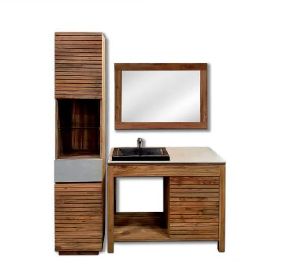 Badezimmer Set Keramik / Teak