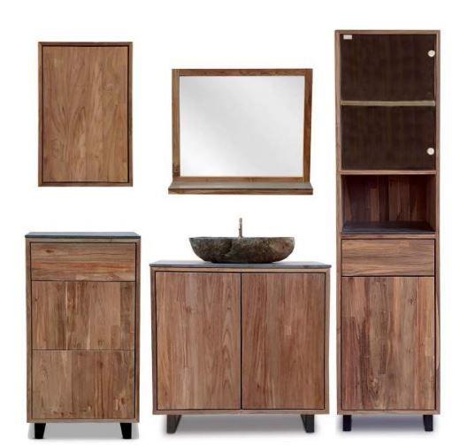 Badezimmer Set Teak / Keramik